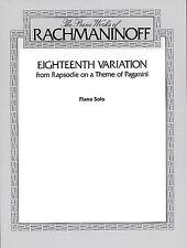 Sergei Rachmaninov: Rhapsody On A Theme Of Paganini - Eighteenth Variation Piano