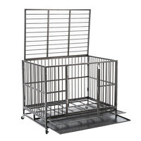 """48"""" Dog Cage Crate Kennel Heavy Duty Pet Cage w/Metal Tray Wheels XXL Playpen"""