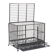 "48"" Dog Cage Crate Kennel Heavy Duty Pet Cage w/Metal Tray Wheels XXL Playpen"