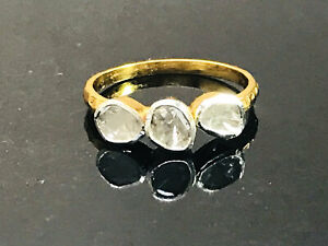 NATURAL DIAMONDS Ring ,925 silver, Engagement Ring ,Vermeil GOLD Plating