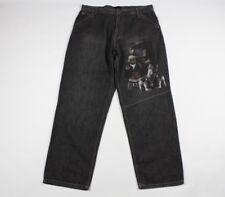 Vintage Makaveli Mens 40x34 2Pac 2 Pac Hip Hop Baggy Denim Jeans Pants Black