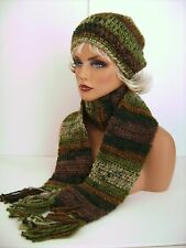 BROWN GREEN HAND CROCHET HAT AND SCARF SET HAND MADE BEANIE CLOCHE BOHO TAM CAP