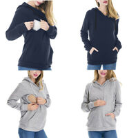 Nursing Women's Hoodie Long Sleeves Solid Tops Breastfeeding Hoodie Sweatshirt