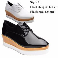2019 Womens Creepers Platform Lace Up Wedge Oxfords Chunky Heels Brogue