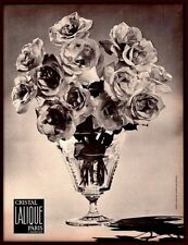 1966 AD  LALIQUE CRYSTAL   VASE ROSES