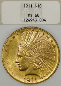 1911 $10 NGC MS60 Gold Indian Head Eagle - Old Fattie Holder