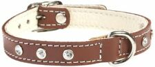 Doggy Things Fantasia Brown Leather Diamante Jewel Dog Collar - M 38-42 cm