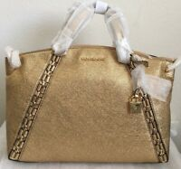 NWT MICHAEL Michael Kors Chelsea Medium Crackle Leather Satchel Bag  $428 Gold