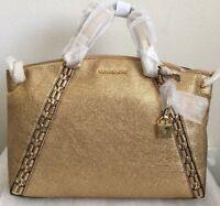 NWT MICHAEL Michael Kors Chelsea Medium Crackle Leather Satchel Bag  $428 Gold
