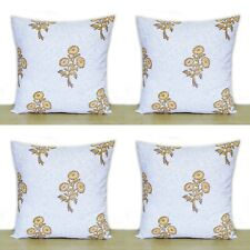 """Yellow Floral White 4 Pcs Indian Hand Block 16""""Cotton Pillow Case Cushion Covers"""