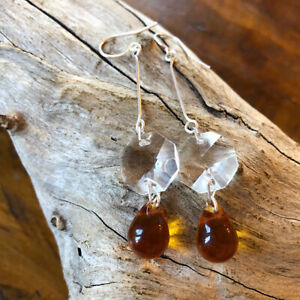 Chandelier Crystal And Yellow Sunshine Czech Glass Drop Solid Silver Earrings