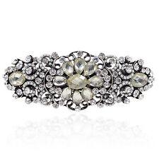 Vintage Design Rhinestone Bead Flower Barrette Silver Tone Hair Clip Party Gift