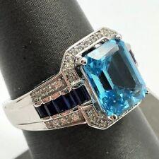 Sterling Silver 925 Emerald Cut Blue Aquamarine Sapphire CZ Halo Cocktail Ring
