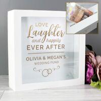 Personalised Wedding Day Money Box Funds Savings Box Wooden Savings Mr & Mrs