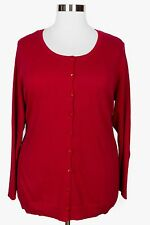 CATHERINES WOMEN'S RED LONG SLEEVE BUTTON CARDIGAN SWEATER PLUS Sz 2X 22/24W