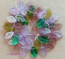 50 Assorted Lavender Garden Mix Color Preciosa Czech Glass 12mm Leaf Drop Beads