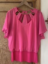 Women's BN Pink Short Sleeved Bat Wing Cut Out Neck Line Top From Coast Size 12