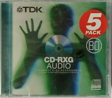 5 X TDK CD-RXG 80 Audio Music CD-R Recordable Blank Discs 5 PACK - NEW & SEALED