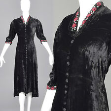 M 1930s Black Velvet Dress Floral Beading Embroidery Evening Cocktail Art Deco