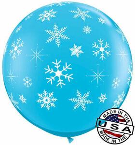 "3 ft HUGE 36"" Robin's Egg Snowflake Qualatex Latex Balloon Decoration Winter"