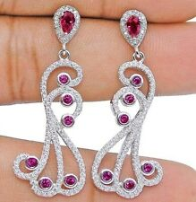 Top Quality Ruby & White Topaz 925 Sterling Silver Earrings Jewelry, V7
