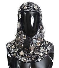 NWT $3200 DOLCE & GABBANA Hood Scarf Hat Black Wool Crystal Runway Mens Norman