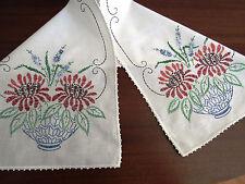 Vtg Embroidered Dresser Scarf Blue Vase Brown Flowers Fern Table Runner EUC
