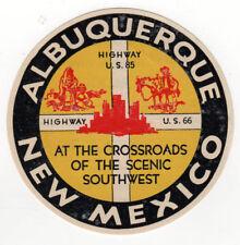 VINTAGE ALBUQUERQUE NEW MEXICO Travel LABEL Southwest INDIAN COUNTRY NM Tourism
