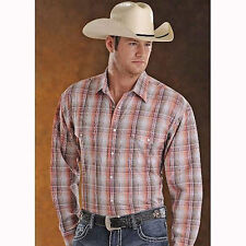 36S3364 Panhandle Men's Peach & Stone Plaid Long Sleeve Western Snap Shirt NEW