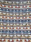 "Vtg Hand Dyed MUslin Tribal Pithora Elephant Fabric Tapestry Tiger Cat Boho 99"""