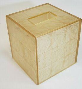 """Capiz Shell Seashell Tissue Box Cover Holder Vtg Beach Nautical Decor 6"""" x 4.5"""""""