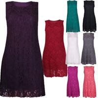Ladies Womens Plus Size Sleeveless Floral Lace Lined Vest Short Mini Dress 12-26