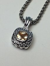 """Designer Inspired Silver 18"""" Necklace Topaz Yellow Citrine Square Crystal Stone"""