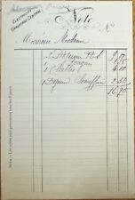 French 1900 Restaurant Bill / Check / Letterhead - Lunch, Chablis Wine