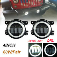 For 07-17 JEEP Wrangler JK CJ TJ 4Inch Round LED Driving Fog Light Bumper Lamps