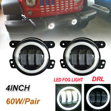 """FIT Jeep JK Dodge Charger 4"""" LED Halo Fog Lamps Driving Light Pair"""
