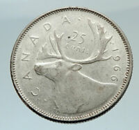 1966 CANADA United Kingdom Queen Elizabeth II CARIBOU Silver 25 Cent Coin i75461