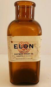1920's EASTMAN KODAK Elon Embossed Amber Glass Photography Bottle Original Label