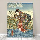"Beautiful Japanese GEISHA Art ~ CANVAS PRINT 8x12"" Woman Wading in River"