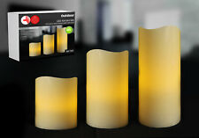 LED 3er Set Kerze Kerzen Kunststoff Timerfunktion Batteriebetrieb Outdoor IP44