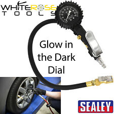 Sealey Tyre Inflator Clip On Connector Glow in the Dark Dial Gauge Air Line Pump