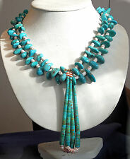 NATIVE AMERICAN TURQUOISE Beads SHELL HEISHI Ladys LONG NECKLACE w/ JACLAW