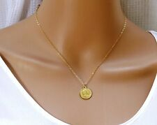 Gold Coin Necklace,gold filled coin necklace , disc pendant