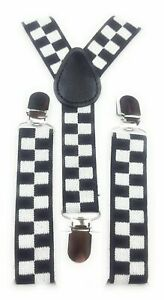 Mens Ladies Childrens Box Check Police Slim Braces Suspenders Fancy Dress