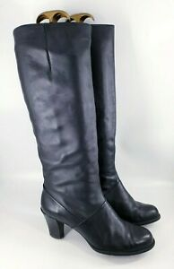 Clarks size 6 D (39) black leather side zip block heel knee high boots