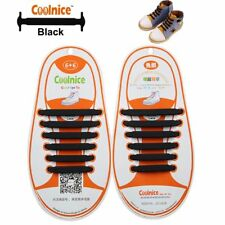 Coolnice No Tie Silicone Shoelaces for Kids Shoes Waterproof & Stretchy Black