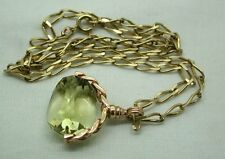 Superb 9ct Rose Gold Mounted Rare Genuine Beautiful Citrine Spinner Fob & Chain