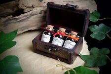 3 x Witches Potion Bottles in a Chest Wicca Pagan Witchcraft Spells  Yule Gift