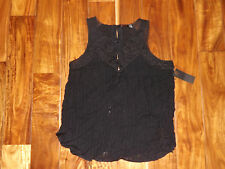 NWT Womens FYLO Black Lace Tank Top Sheer Sleeveless Size L Large