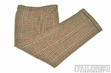 POLO RALPH LAUREN Brown Plaid Check TWEED Wool Mens Luxury Pants Trousers - 34